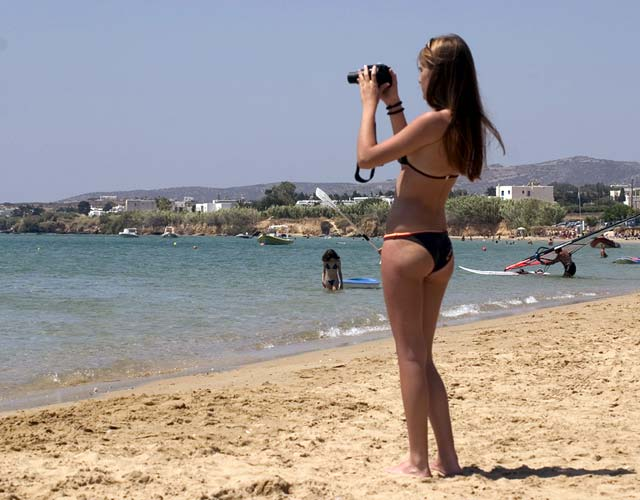 GIRL PHOTO BEACH - While in Paros I visited a diffferent beach everyday and she was at the same beach most of the times.