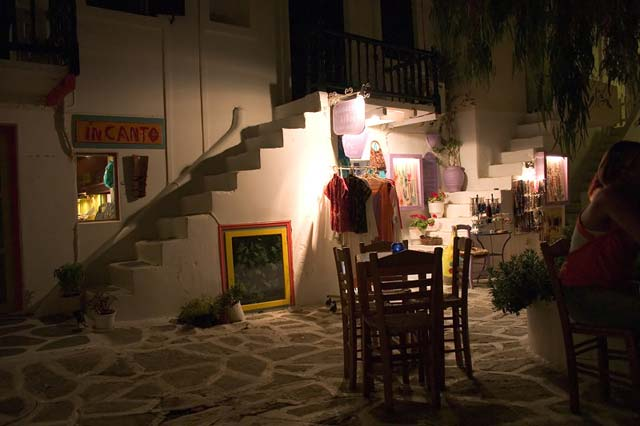 HANGING OUT IN NAOUSSA - Nightime, warm night drinking daquiris on this small alley with the little tables outside. Can't wait till next summer...