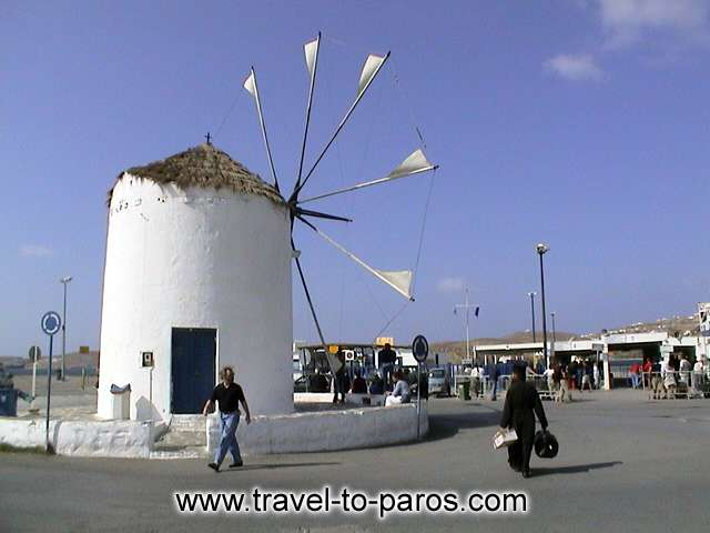 Symbol for the harbour of Paros constitutes the square with the windmill.