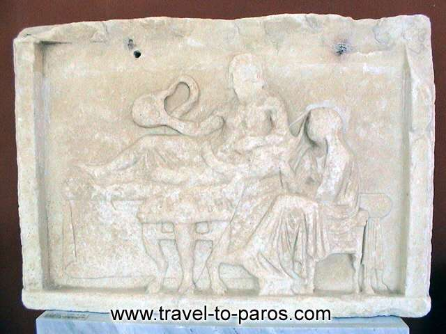ARCHAEOLOGICAL MUSEUM OF PAROS - A sculptured tombstone.