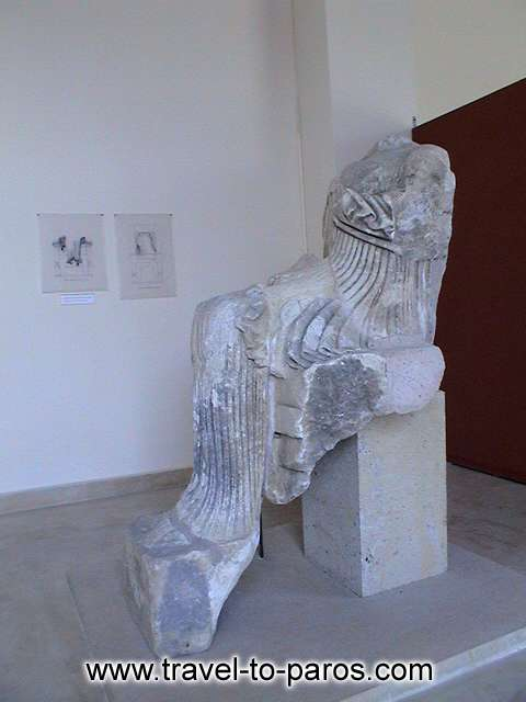 ARCHAEOLOGICAL MUSEUM OF PAROS - The marble statue of an enthroned goddess that was found to Ageria of Paros.