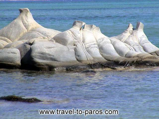 The rocks in the beach Kolybithres resemble with natural sculptures.