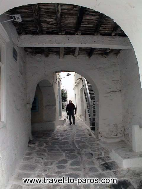PARIKIA PAROS - The streets to the traditional settlement are narrow, curved with paved paths.
