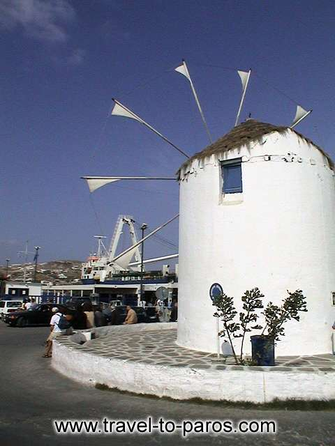 PARIKIA PAROS - Another view from the square with the windmill that is found to the port of Paros.